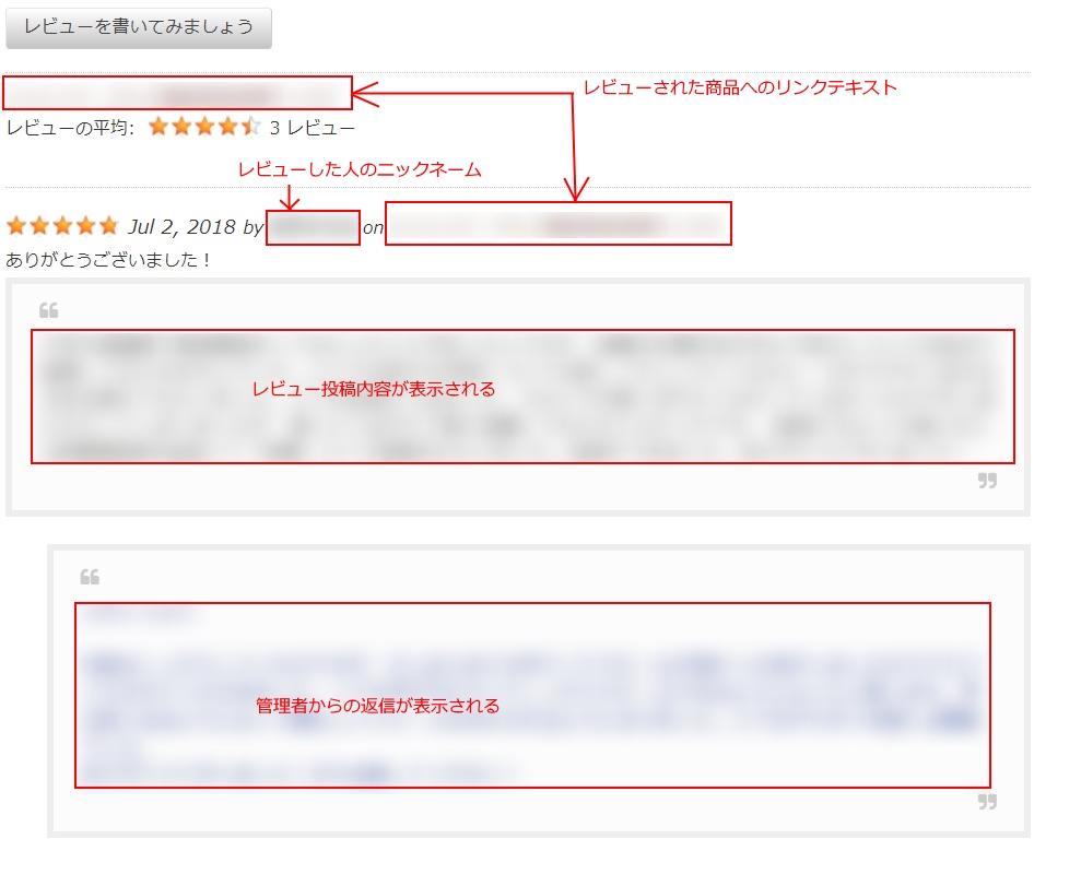 日本語化されたWP Customer Reviewsのレビュー一覧の画像