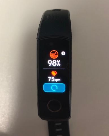 Huawei Honor Band 5 SpO2測定結果表示画面の写真
