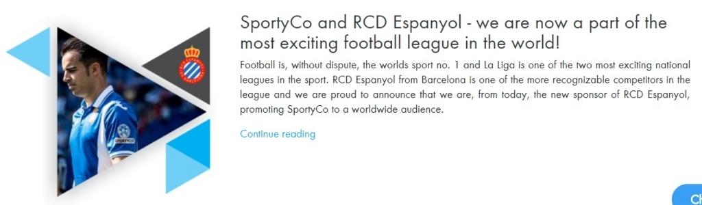 SportyCoが「RCDエスパニョール」のスポンサーに