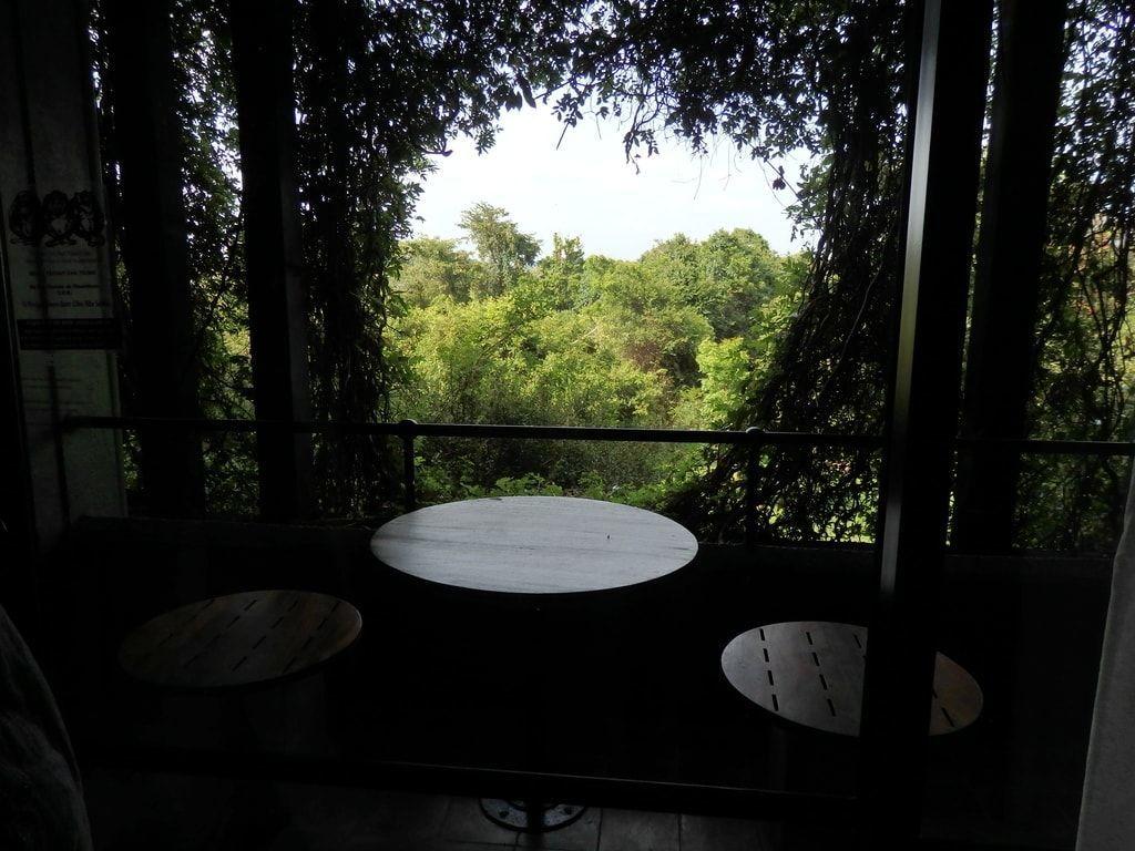 ヘリタンスカンダラマの客室のベランダからの眺め まるで、葉っぱでできた丸い額縁、そこに切り取られた自然の絵画