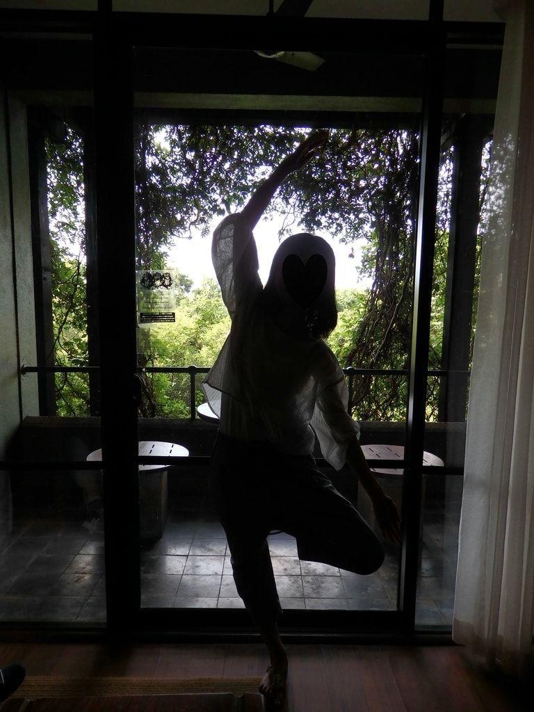 ヘリタンスカンダラマの客室のベランダからの眺めと風に吹かれる立木のポーズ
