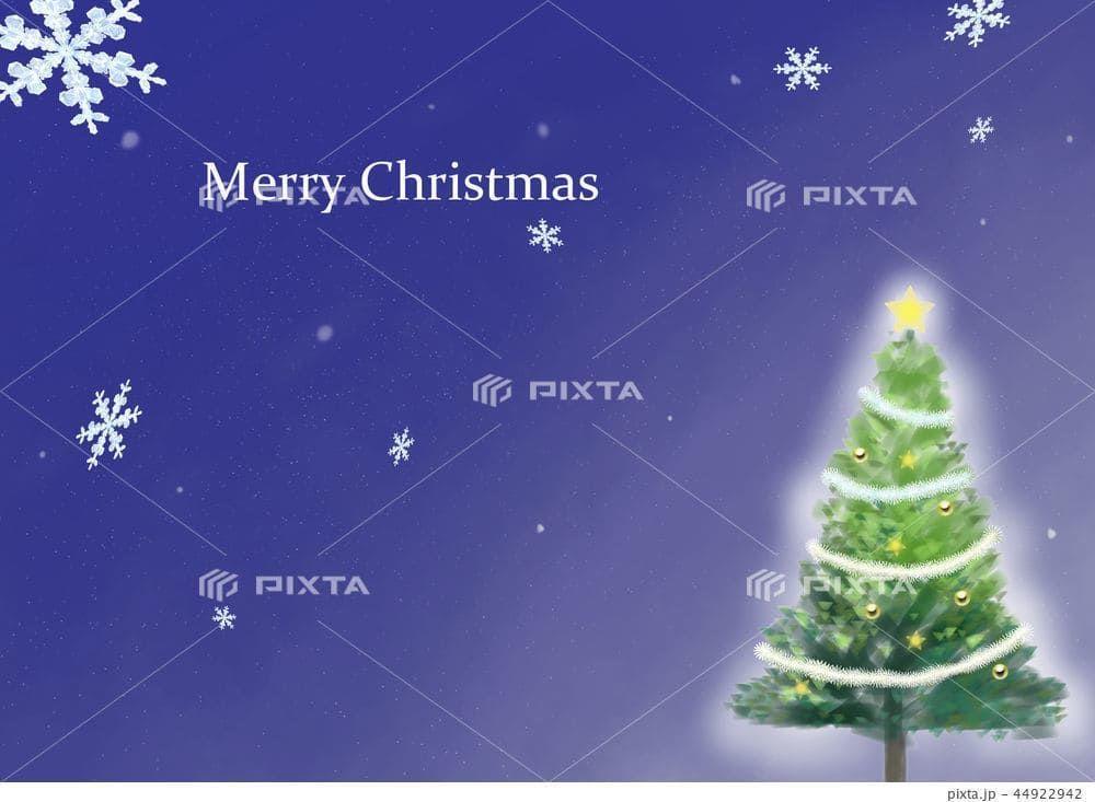 CLIP STUDIO PAINT PRO(クリスタ)で描いたクリスマスツリーのイラストのグリーティングカード(MerryChristmasの文字あり)