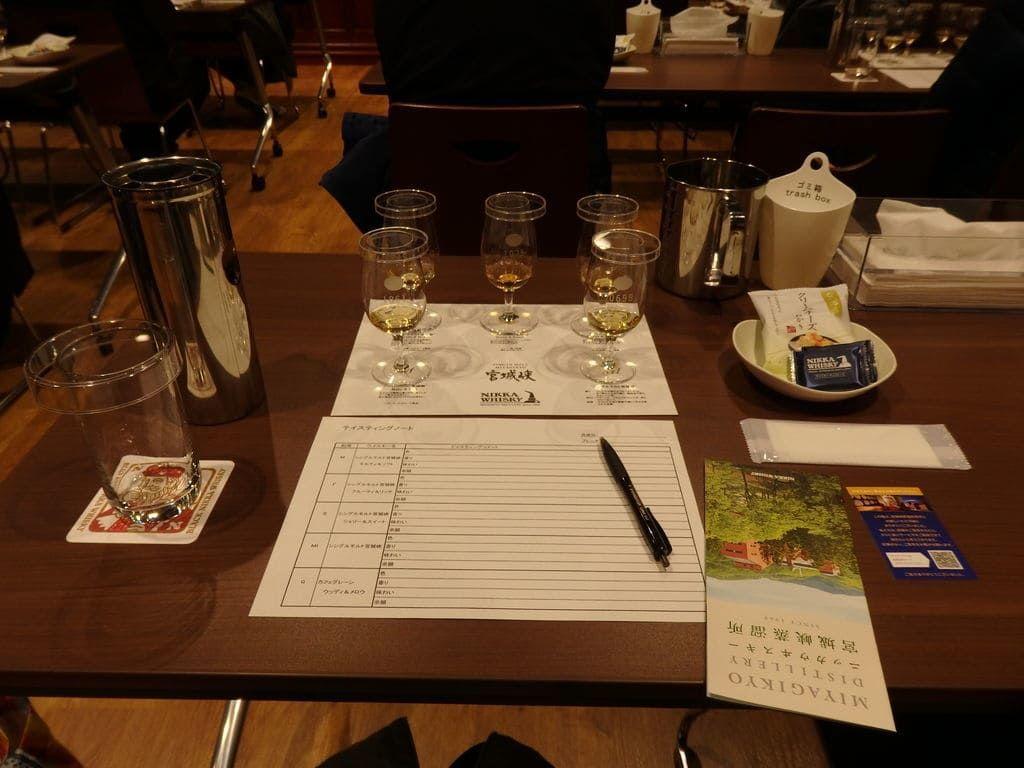 ニッカウヰスキー宮城峡蒸溜所(仙台工場) テイスティングセミナー グラス5杯