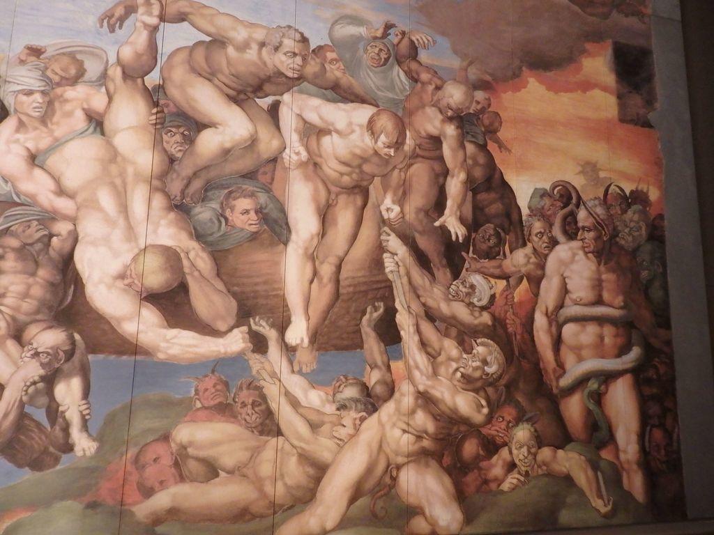 大塚国際美術館 「システィーナ礼拝堂天井画および壁画」蛇に大事な部分を噛みつかれたミケランジェロに悪口を言ったという人物