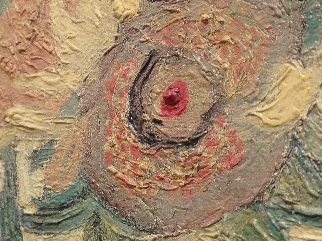 大塚国際美術館 「7つのヒマワリ」の展示室 自分の耳を切り落とすという事件を起こした直後に描いた「ヒマワリ」フィンセント・ファン・ゴッホ 赤い点の凸凹具合