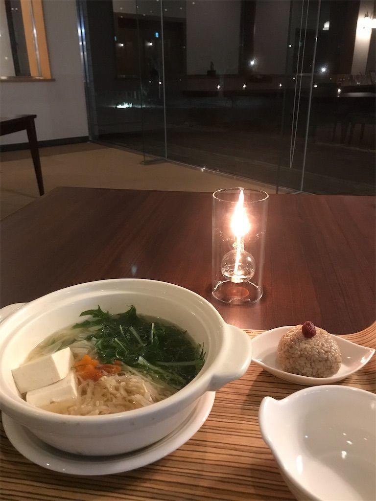 塩糀湯豆腐、番茶梅むすび