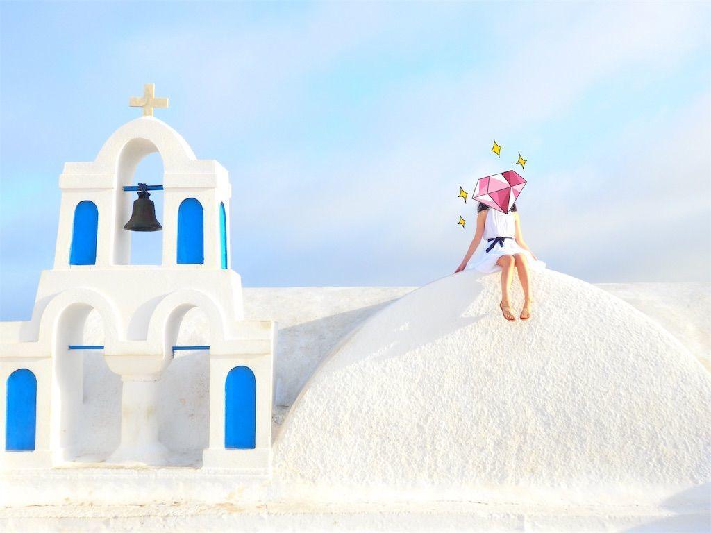 ギリシャ新婚旅行で宿泊したサントリーニ島イアのおすすめ洞窟ホテル「ラ ペルラ ヴィラズ アンド スイーツLa Perla Villas and Suites」周辺の教会、人気のあるインスタ映え撮影スポット