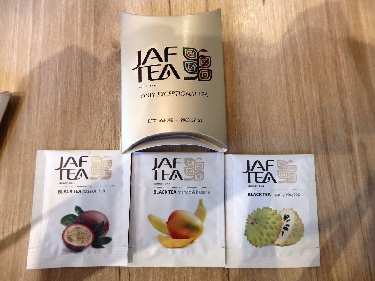 代々木公園で行われたスリランカフェスティバル2019 抽選会参加賞JAF TEAのティーバッグ パッションフルーツ、マンゴー&バナナ、クリーミーサワーソップ
