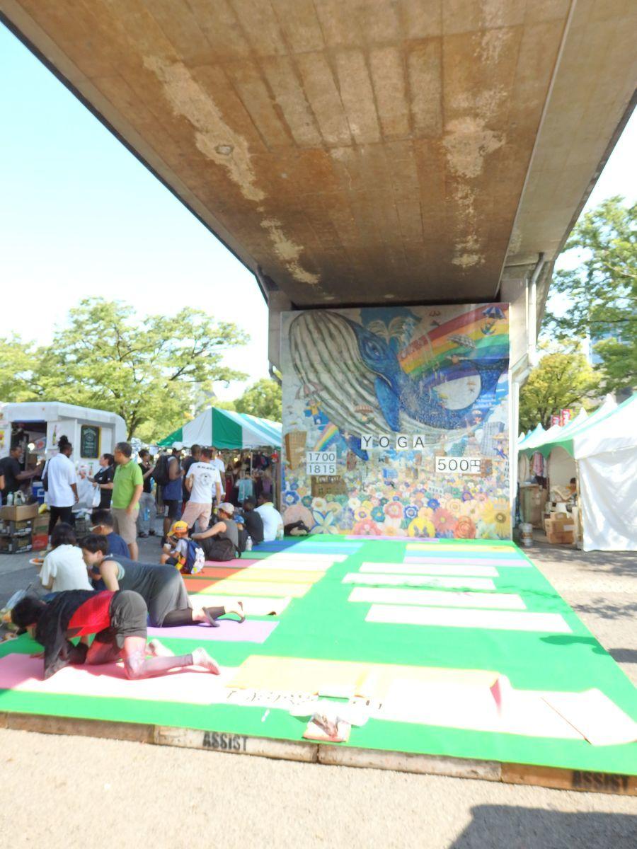 代々木公園で行われたスリランカフェスティバル2019 ヨガレッスン 高架下の特別ブース