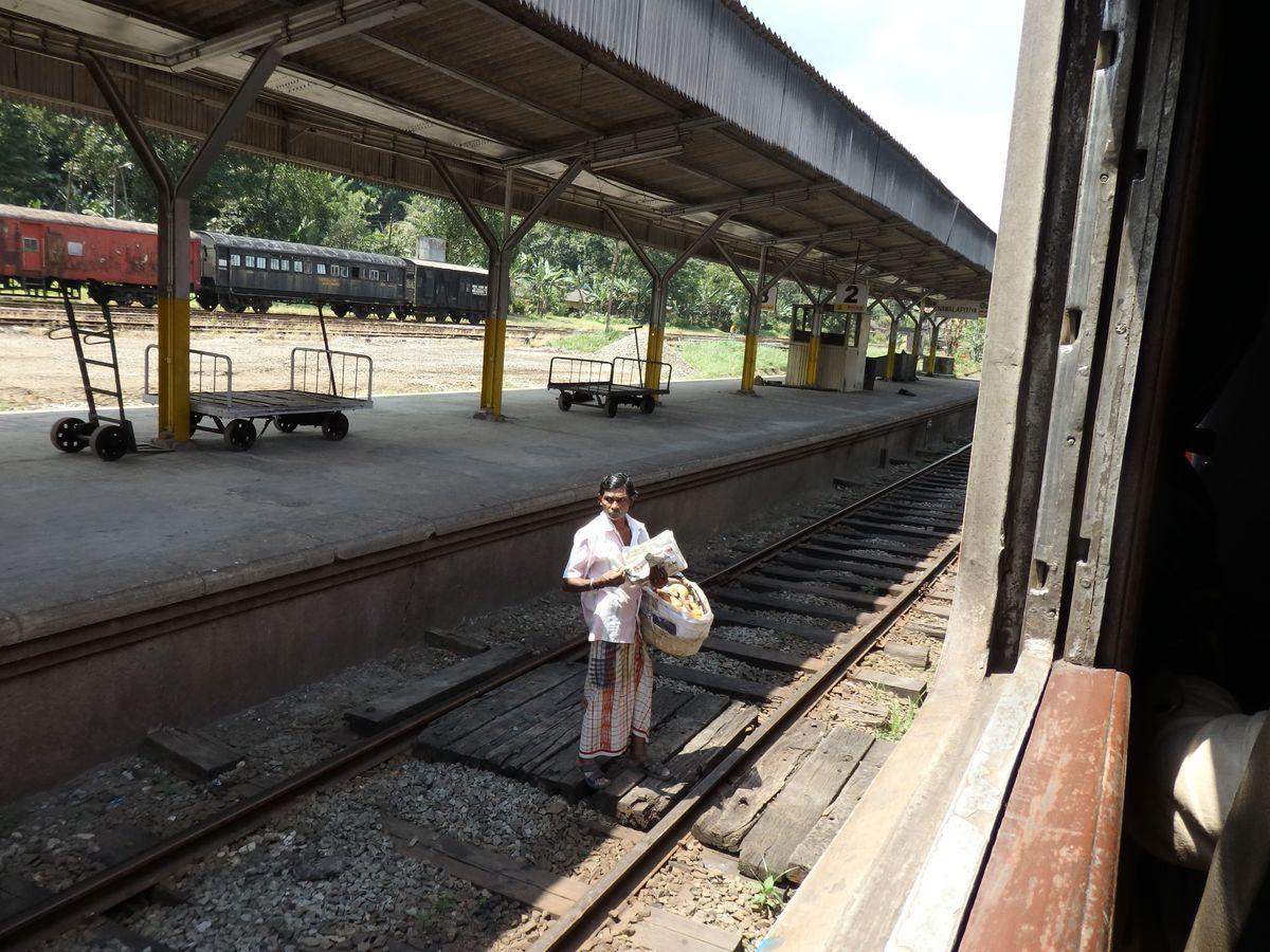 スリランカ キャンディとヌワラ・エリヤを結ぶ高原列車/紅茶列車 Nawalapitiya(ナワラピティヤ)駅 売り子の男性
