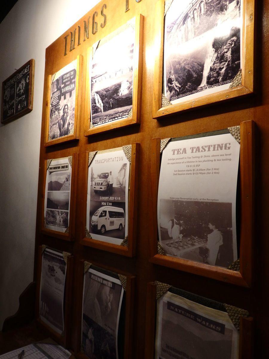 紅茶工場をリノベーションしたホテル,ヘリタンス ティー ファクトリー(Heritance Tea Factory)、アクティビティの掲示