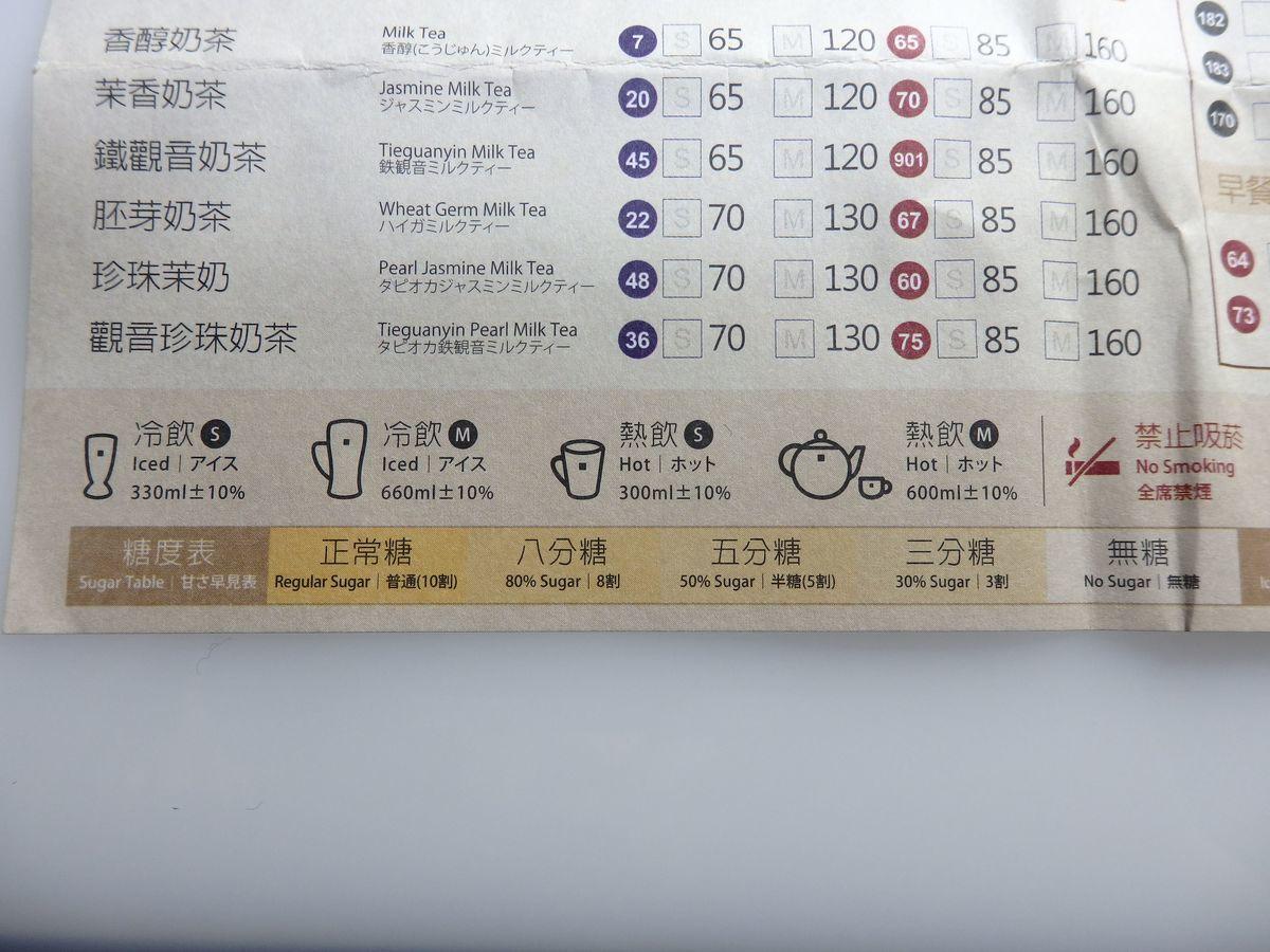 タピオカミルクティー発祥地 春水堂創始店(台中四維店) カスタマイズ表 ドリンクは甘さが選べる 10割(普通)、8割、5割、3割、無糖の5段階