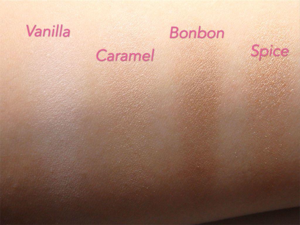 イギリスロンドン発のミネラルコスメブランド・リリーロロ(Lily Lolo)の8色アイシャドウパレット「Lily Lolo Pure Indulgence Eye Palette」色味・カラー。バニラ(Vanilla)、キャラメル(Caramel)、ボンボン(Bonbon)、スパイス(Spice)
