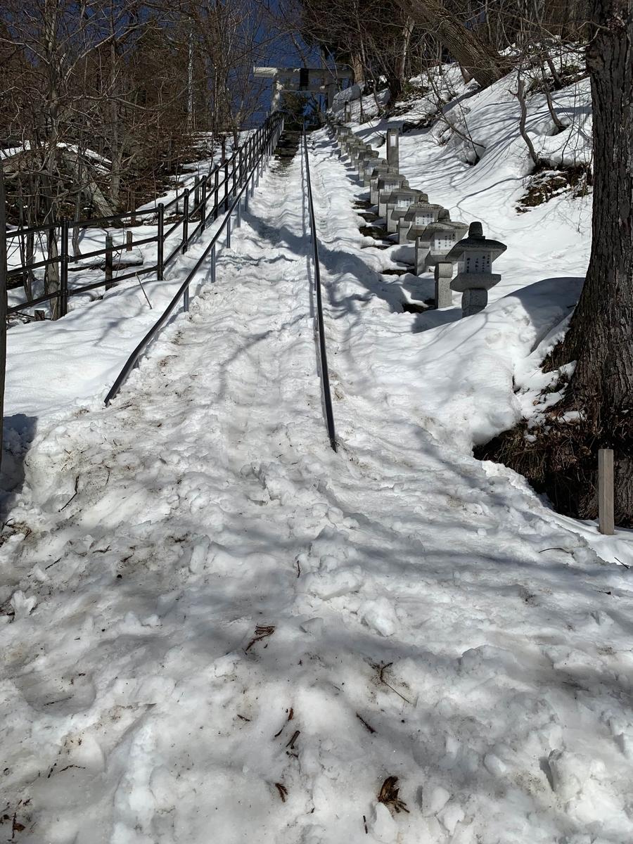 酢川温泉神社の雪で覆われた階段