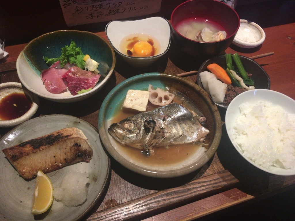 三種類の魚和風料理