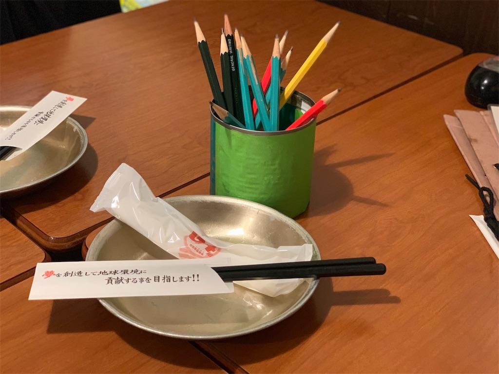 学校居酒屋6年4組のお皿とお箸
