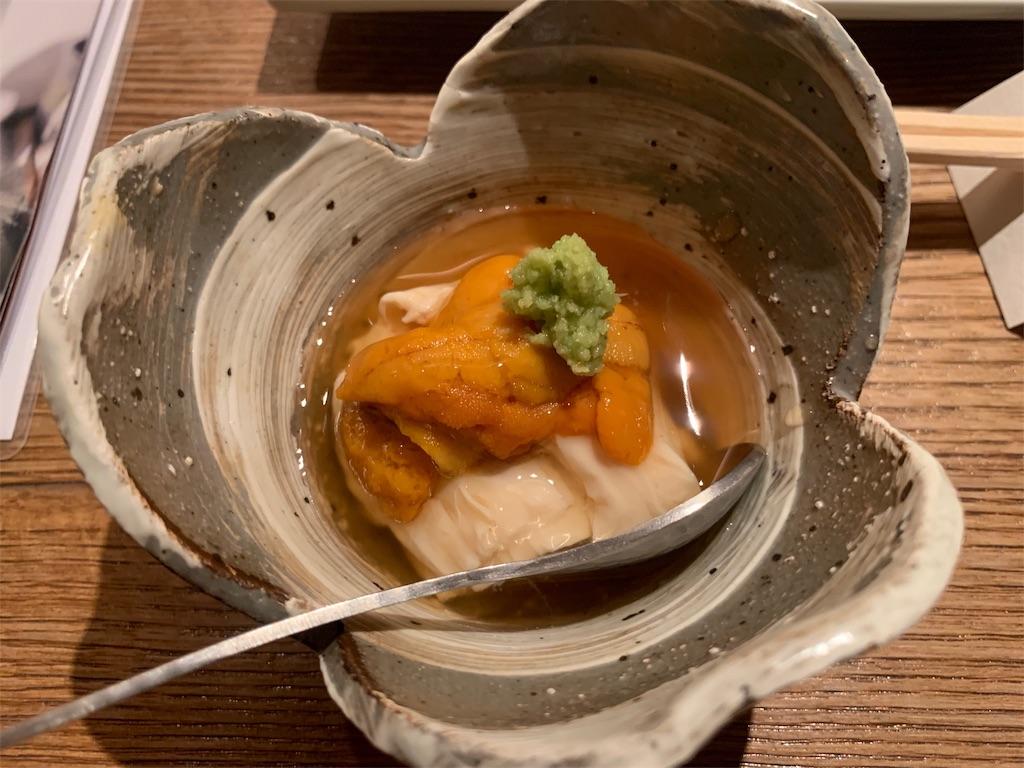 博多水炊き とり田のウニと湯葉のあんかけ