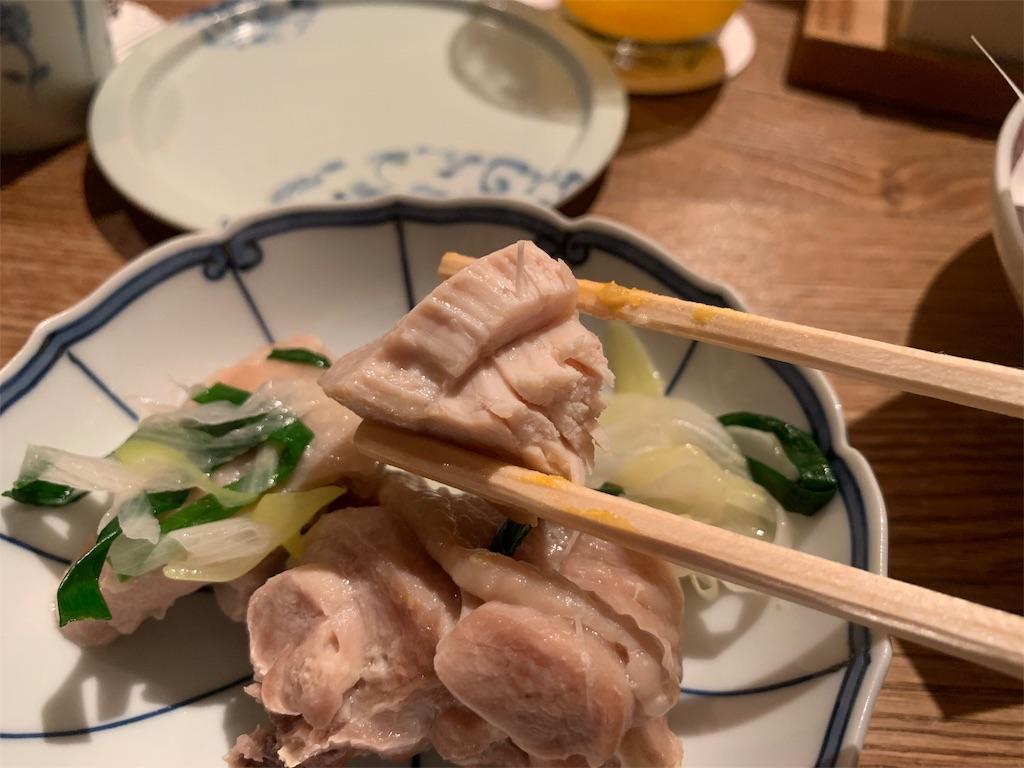 博多水炊き とり田の骨なし鶏肉の断面