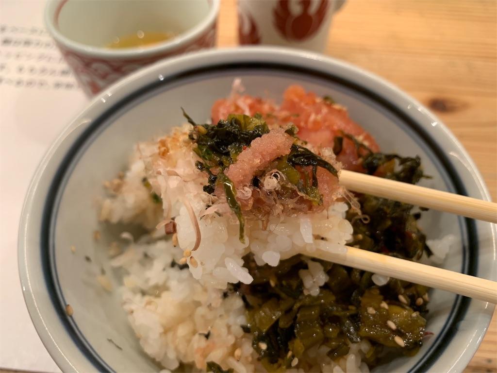 博多坦々麺とり田の博多めんたい丼と白ご飯