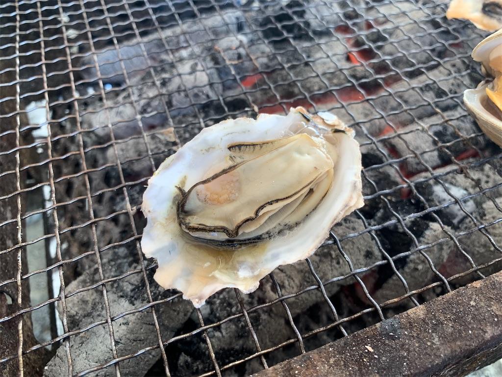 かき焼き処貝鮮丸の食べ頃の牡蠣