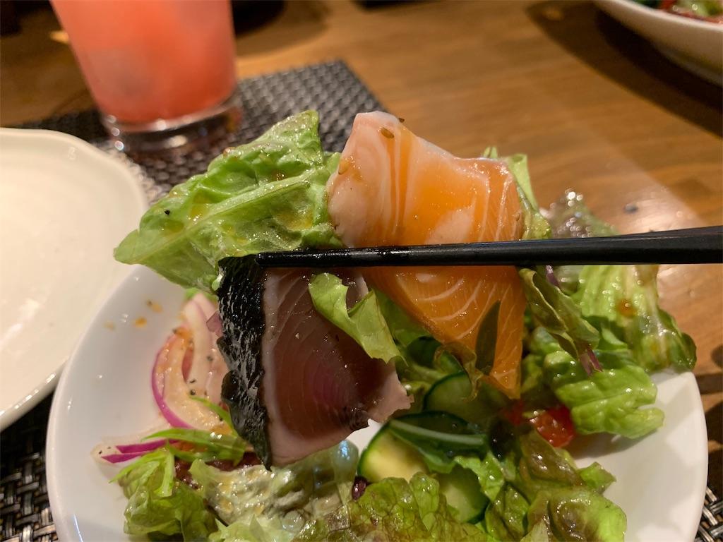 の田萬の刺身とサラダ