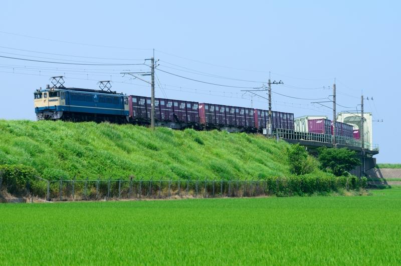 香取-十二橋_1094レ_EF65PF-2121号機(新鶴見)+コキ15B