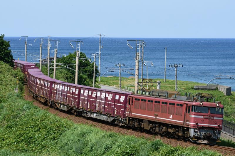 吹浦-女鹿_2093レ_EF81-735号機(富山)+コキ18B
