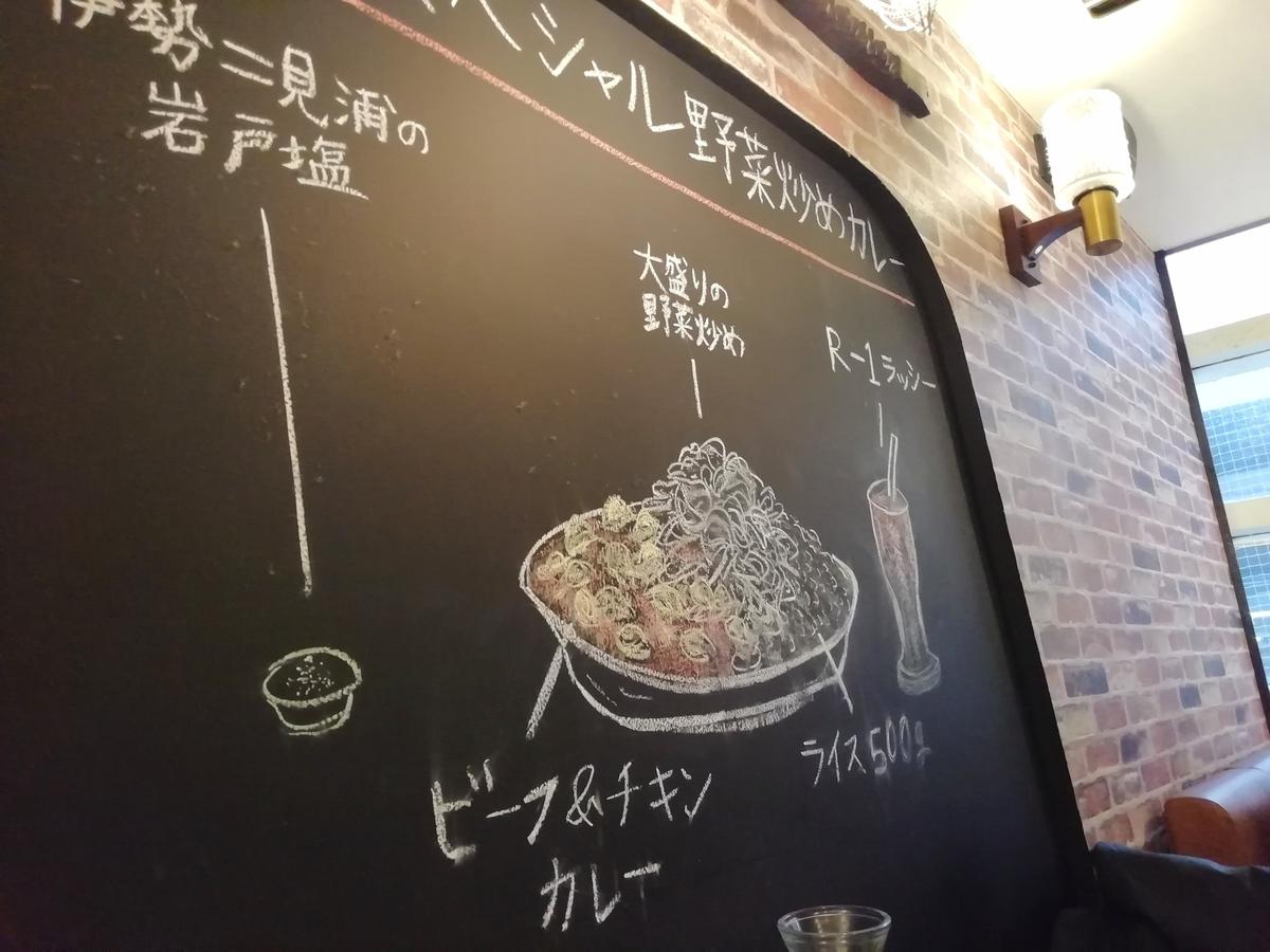 ポップな黒板に描かれたメニュー解説。