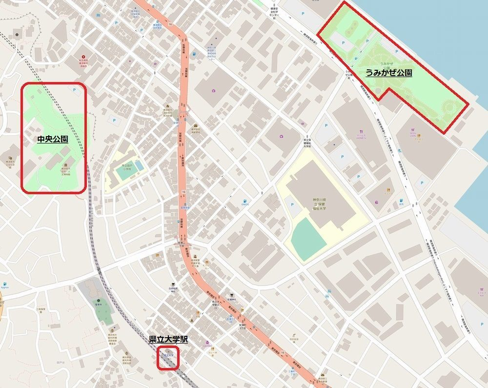 県立大学駅周辺の地図
