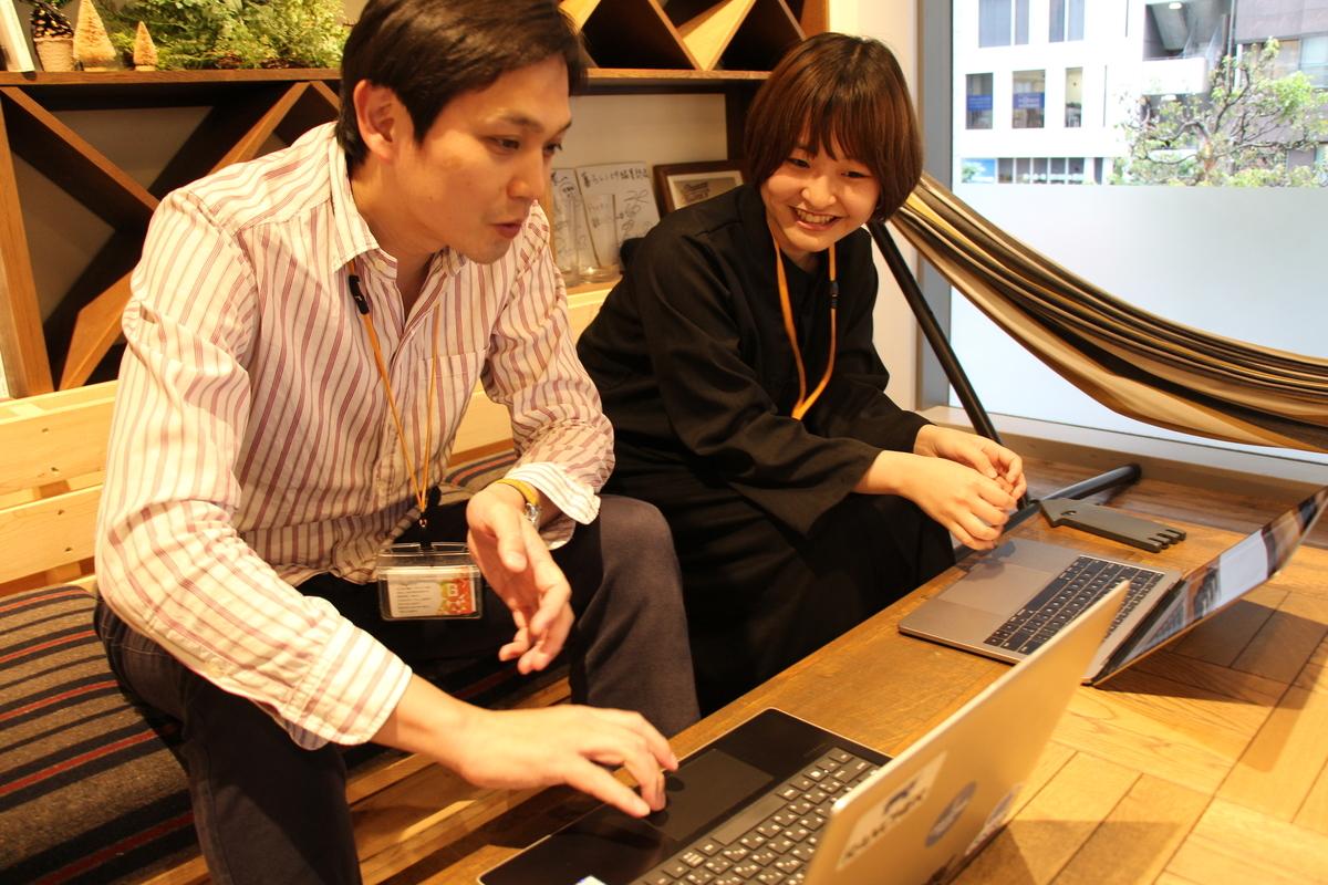 インフラ研修講師 小林(左)と2019新卒 小笠原(右)