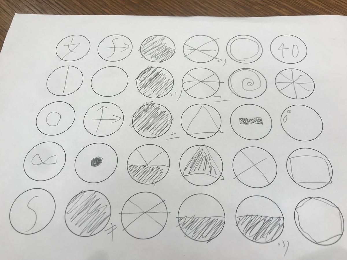 写真:30個の円がならんだワークシートに晴れや薄曇りといった天気記号が手書きで描かれている