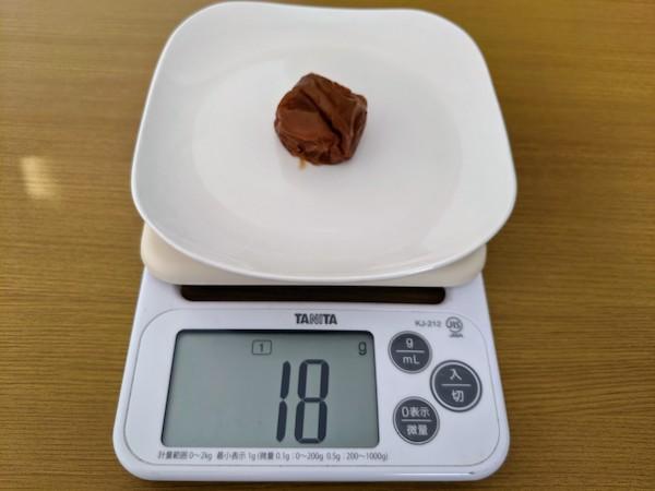 ゼロ梅の重さを測ってみました