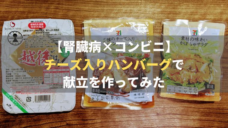 【腎臓病×コンビニ】チーズ入りハンバーグで簡単献立【セブンイレブン編】