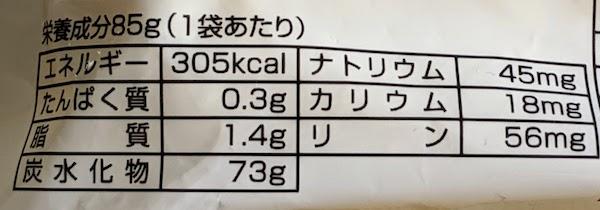 ジンゾウ先生のでんぷんノンフライ麺の栄養成分