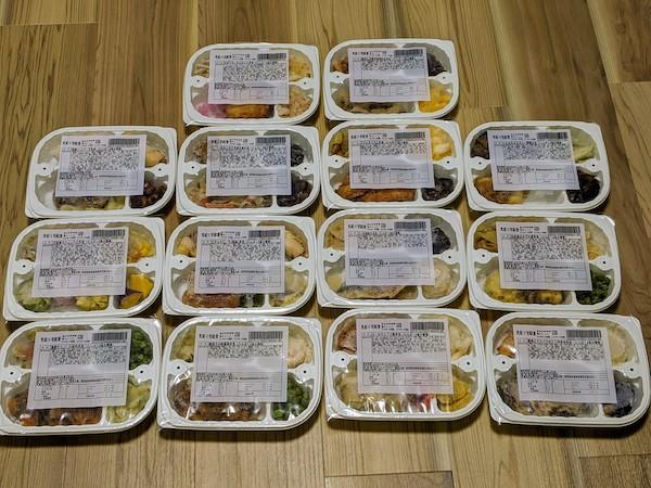 クーポンで購入した低たんぱく弁当14食