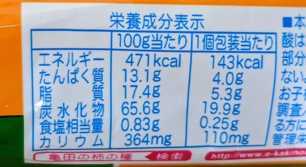 亀田の柿の種 塩分30%オフの栄養成分