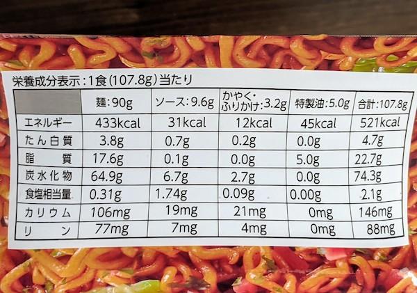 FORICAソース焼きそばの栄養成分