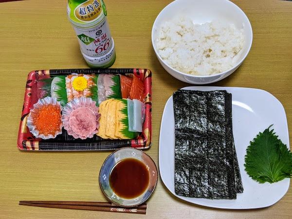 手巻き寿司を超減塩しょうゆでいただきました