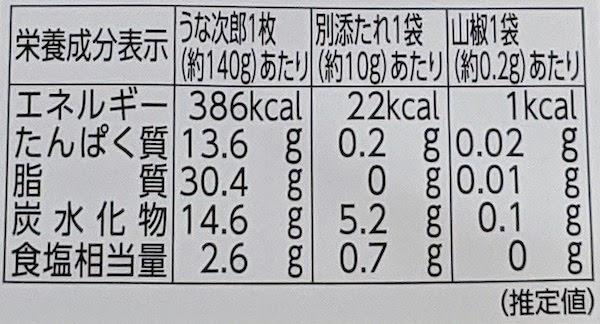 栄養成分表示(大きいサイズのうな次郎)