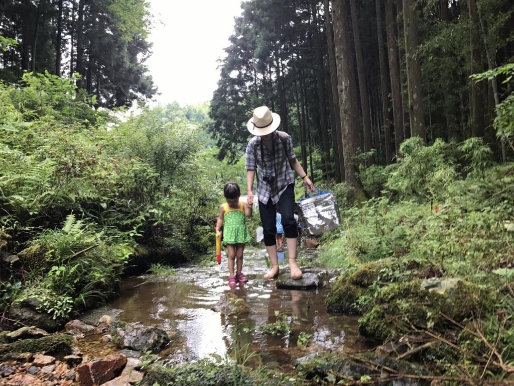 娘と川遊び