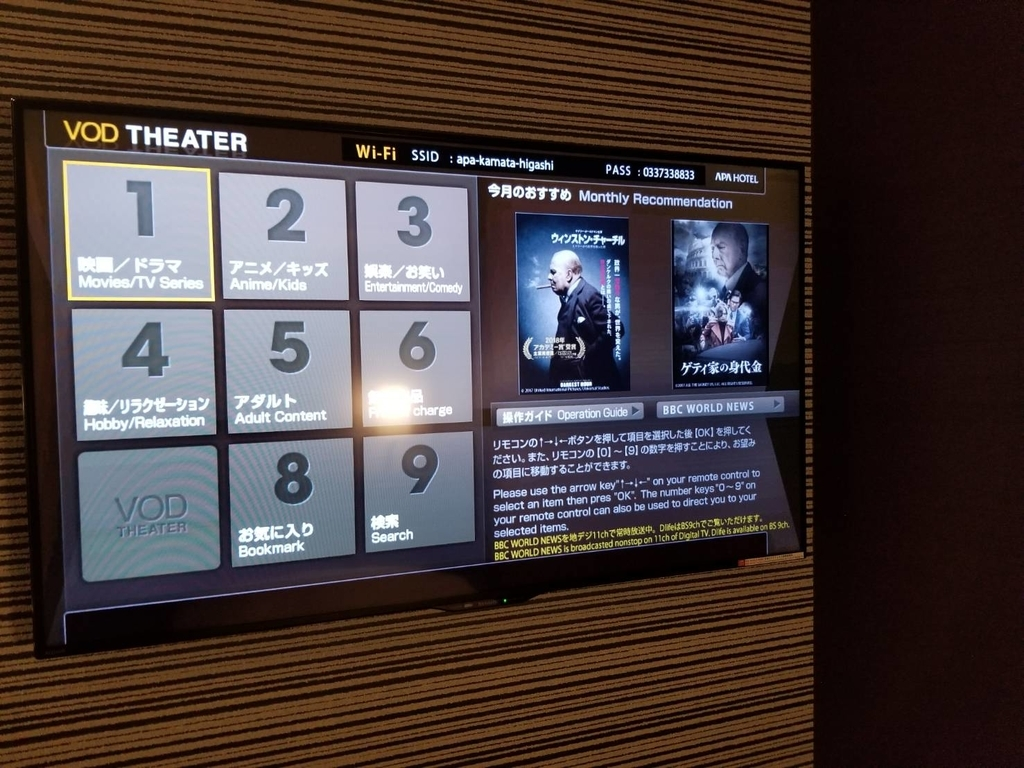 アパホテル テレビ