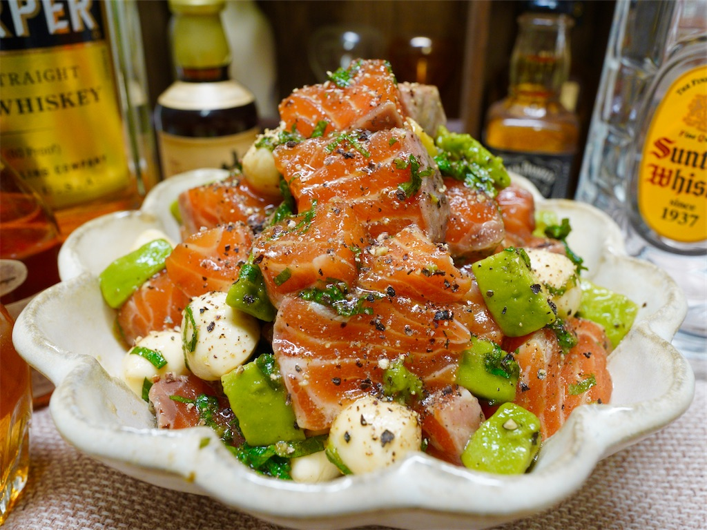 【レシピ】サーモンとアボカドの柚子胡椒めんつゆ漬けの画像