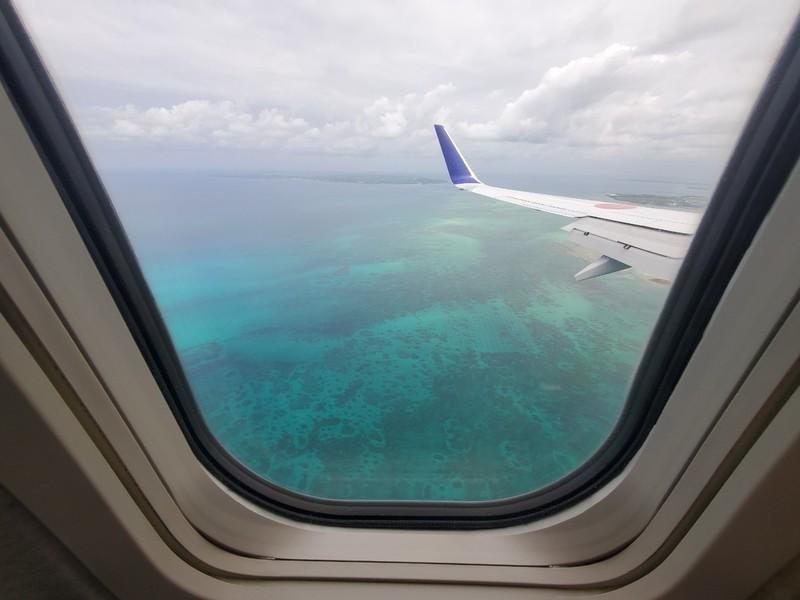 飛行機からの宮古島の宮古ブルー