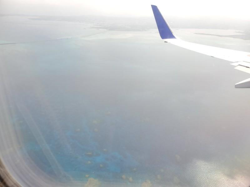 飛行機からの宮古島の海