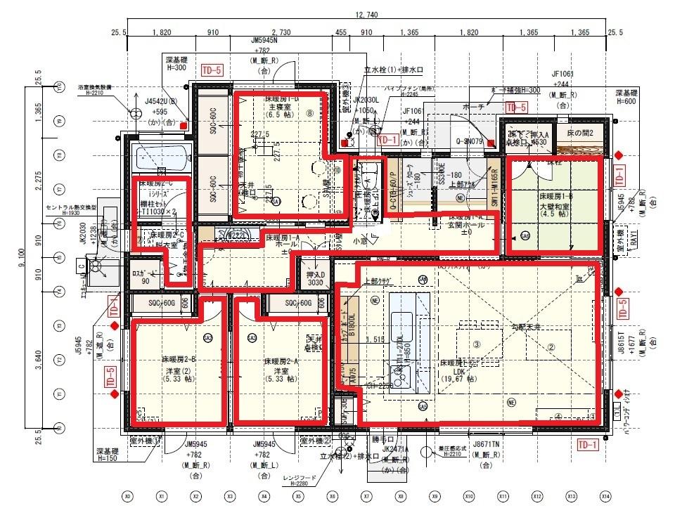 31坪平屋の床暖房のエリア分け