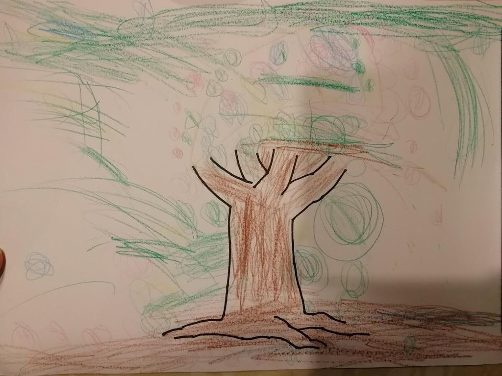 絵画教室で初めてかいた木の絵