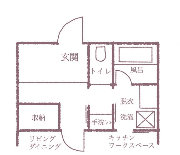 玄関〜水回り〜LDK部分のプラン