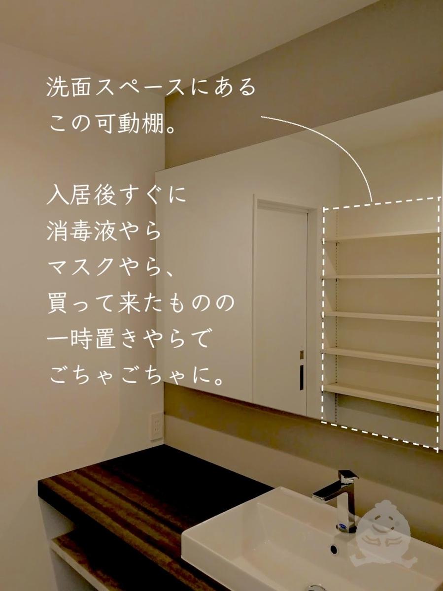 入居後すぐの何も置いていない洗面所の写真