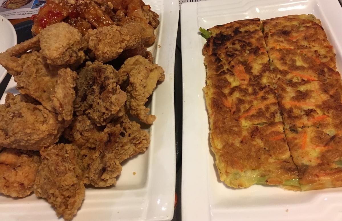 韓国唐揚げ、海鮮チヂミ