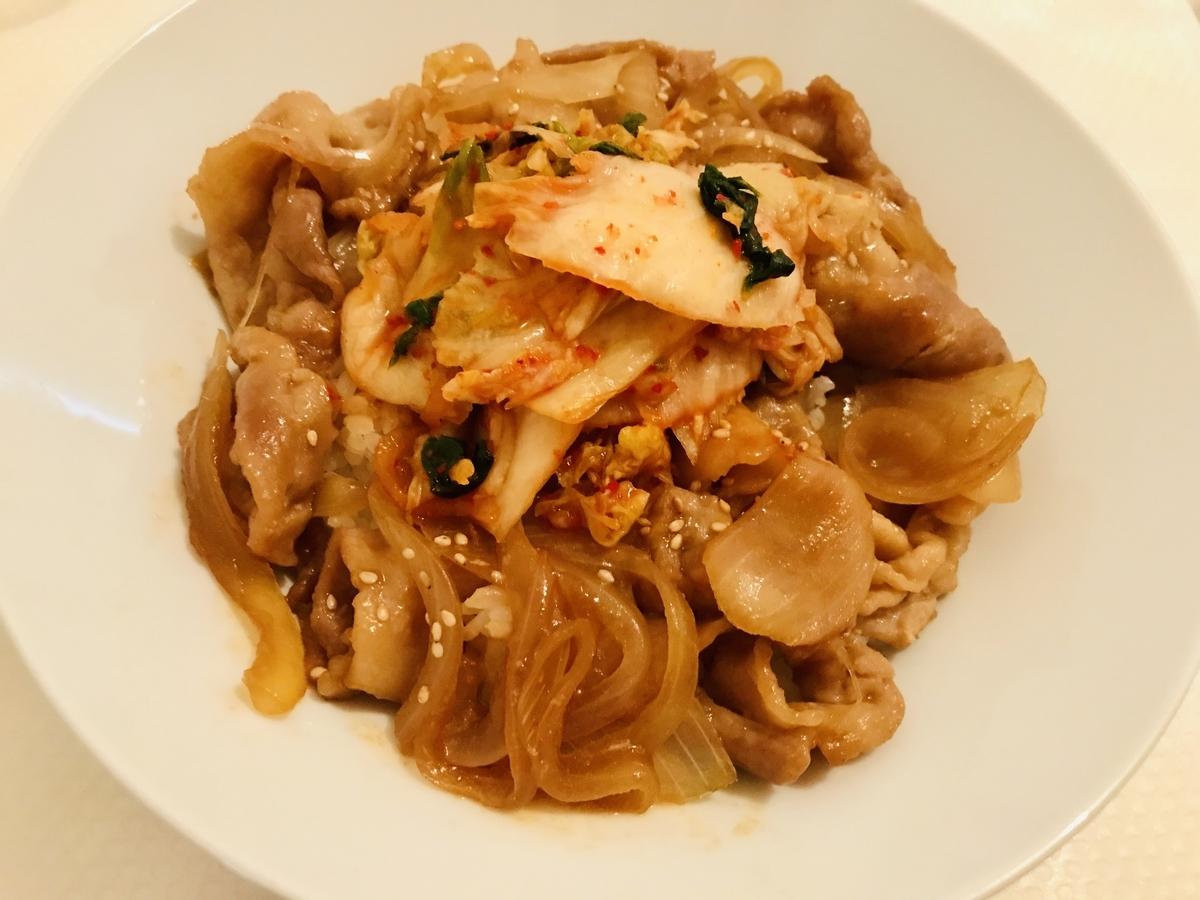 キムチ豚生姜焼き丼